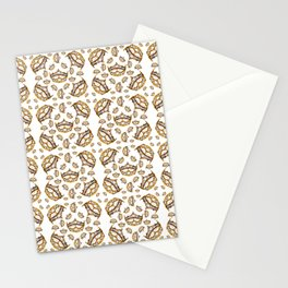 Queen of Hearts gold crown tiara scattered pattern by Kristie Hubler with white background Stationery Cards