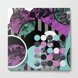 Bits N Pieces II - Abstract, geometric, textured, stripes, cyan, blue, pink, black, artwork Metal Print