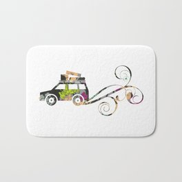 Cute Car Fabric art Bath Mat