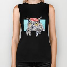 Serious Horned Owl in Red Beret  Biker Tank