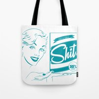 shit Tote Bags featuring Shit!  by Plan 9 Design