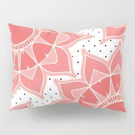 Coral ivory floral mandala black white polka dots Pillow Sham