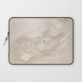 Fabulous butterflies and wattle with textured chevron pattern in subtle iced coffee Laptop Sleeve