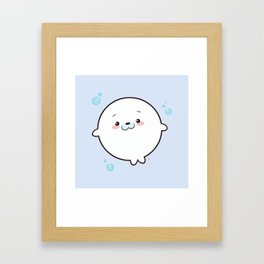 Baby Seal Kawaii Framed Art Print