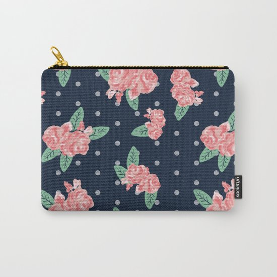 Brooklin - Navy dots floral bouquet minimal boho abstract flowers Carry-All Pouch