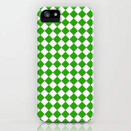 VERY SMALL Green and White HARLEQUIN DIAMOND PATTERN iPhone Case