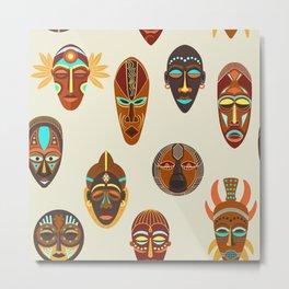 African ethnic tribal ritual masks Metal Print