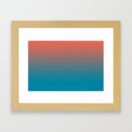 Pantone Living Coral & Barrier Reef Blue Gradient Ombre Blend Horizontal Line Framed Art Print