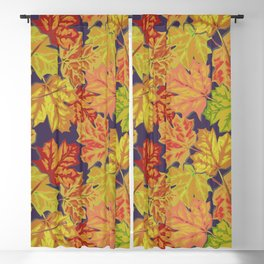 Colorful Fall Leaves on an Eggplant Background Blackout Curtain