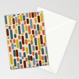 Morningside Heights Mid-Century Modern Pattern in Steel Blue, Maroon, Orange, Mustard, Orange Cream Stationery Cards