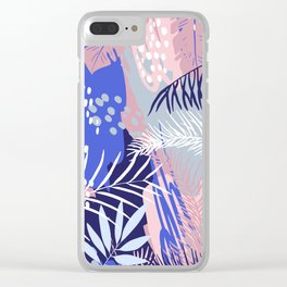 Abstract Tropical Summer Garden, Pink and Blue Clear iPhone Case