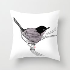 Blackcap Bird Throw Pillow