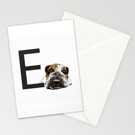E is for English Bulldog Stationery Cards