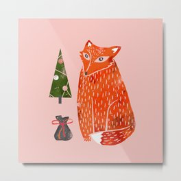 Christmas fox - illustration Metal Print