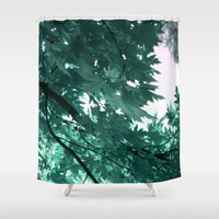 turquoise Shower Curtains featuring turquoise by Françoise Reina