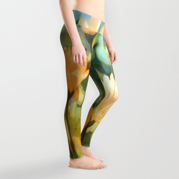 Early Morning Flower Garden Leggings