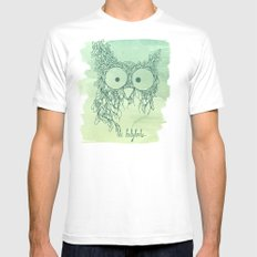 The Babybirds Owl 02 White MEDIUM Mens Fitted Tee