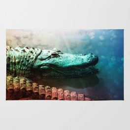 The Alligator that Wears the Rainbow Rays  Rug