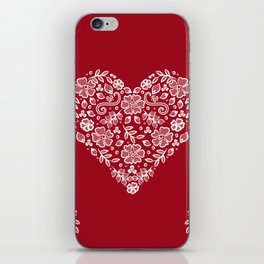 Red Heart Lace Flowers iPhone Skin