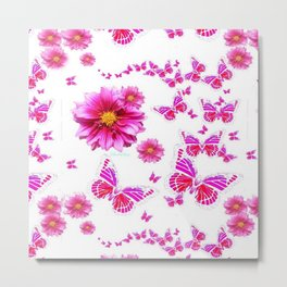 Pink Butterflies Floral Fantasy Art Metal Print