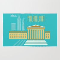 philadelphia Area & Throw Rugs featuring Philadelphia by Marina Design