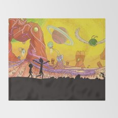 Rick and Morty - Silhouette Throw Blanket