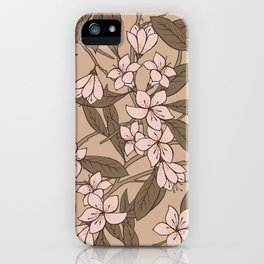 Sakura Branch Pattern - Pale Dogwood + Hazelnut iPhone Case