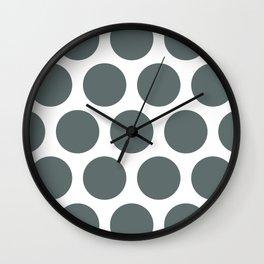 Large Polka Dots: Dark Grey Wall Clock