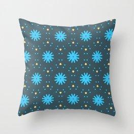 Aqua Multiflower Design Throw Pillow