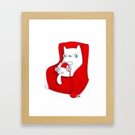 Kitty Loves Knitting Framed Art Print