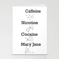 cocaine Stationery Cards featuring Caffeine, Nicotine, Cocaine, Mary Jane by MMHDesigns