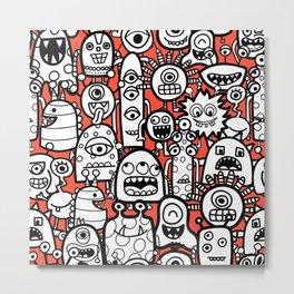 Monsters Red Kids Pattern Metal Print