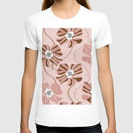 Abstract striped large flowers and lines geometric pattern T-shirt
