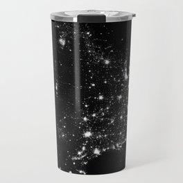 The Lights of the USA (Black and White) Travel Mug