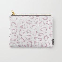 Blush pink faux glitter elegant cheetah print animal Carry-All Pouch