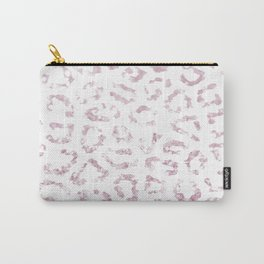 Blush pink faux glitter elegant cheetah print animal Carry-All Pouch