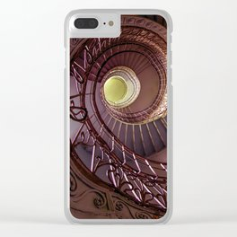 Spiral staircase in red and golden tones Clear iPhone Case