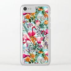 Floral and Flamingo VII pattern Clear iPhone Case