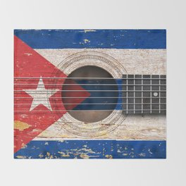 Old Vintage Acoustic Guitar with Cuban Flag Throw Blanket