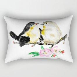 birds and apple flower blossom Rectangular Pillow
