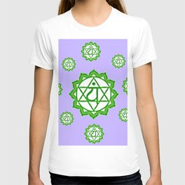 """This design is all about the ASTRAL PURPLE GREEN SANSKRIT CHAKRAS PSYCHIC WHEEL """" LOVE"""" decor, furni T-shirt"""