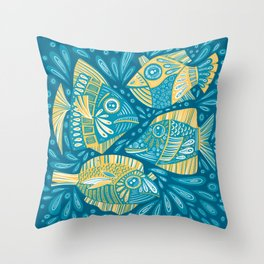 Fish in the ocean - folk ornamental artwork in simplified forms and limited yellow and blue colors Throw Pillow