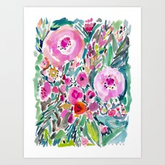 Pink Pow Wow Abstract Painterly Floral Art Print