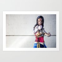 justice league Art Prints featuring Katie Cosplays as Justice League Wonder W oman by Long Thai - mineralblu.com