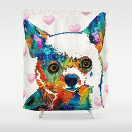 Colorful Chihuahua Art by Sharon Cummings Shower Curtain