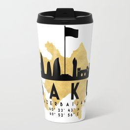 BAKU AZERBAIJAN SILHOUETTE SKYLINE MAP ART Travel Mug