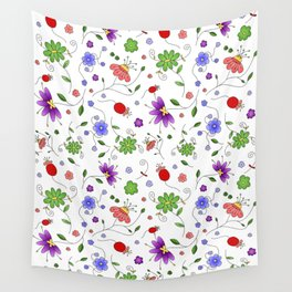Colorful Flowers Drawing Wall Tapestry
