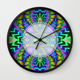 Tribal Rainbow Lotus Wall Clock