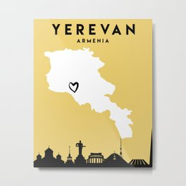 YEREVAN ARMENIA LOVE CITY SILHOUETTE SKYLINE ART Metal Print