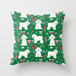 Bichon Frise Christmas dog breed pattern mittens stockings presents dog lover Throw Pillow